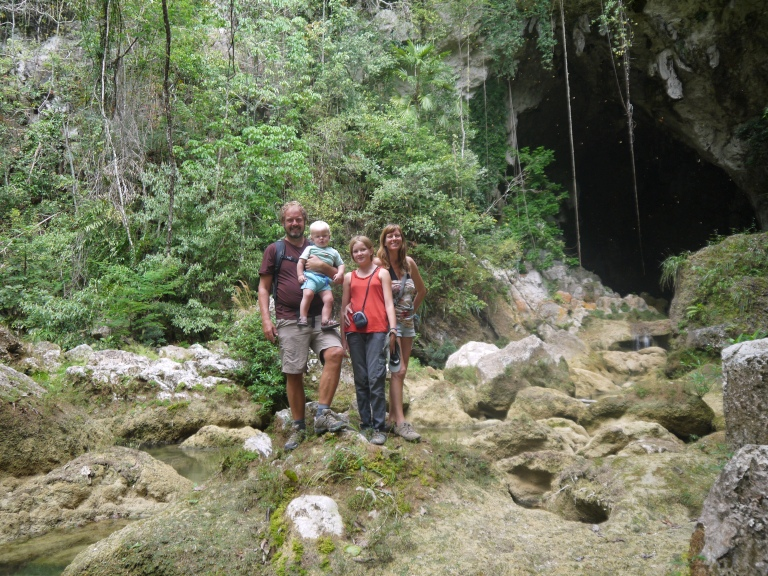 outside the cave - travelling family #