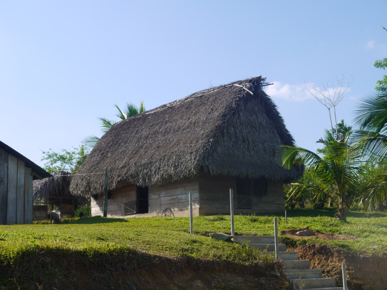 On the way to Blue Creek cave - traditional mayan house #3