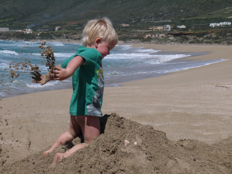 Jed destroying the sand castle - Travellingminstrel #