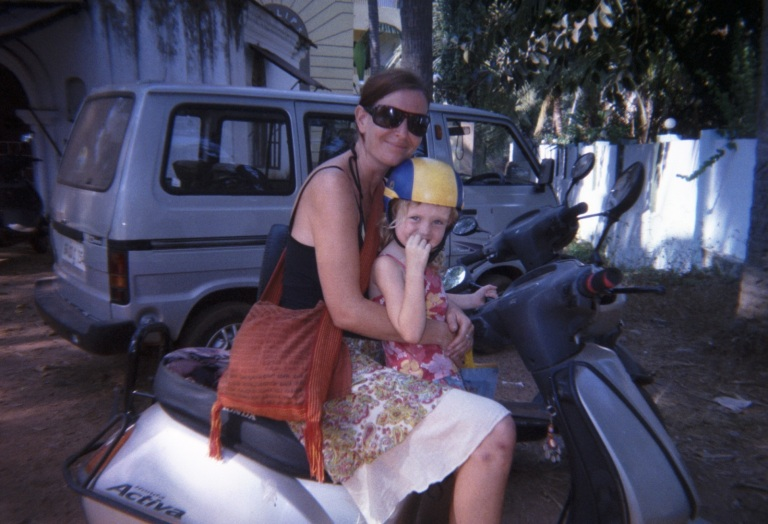 Me and mum on the scooter - Travellingminstrel #